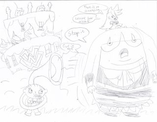 Stewie Chases Panty and Stocking with a Tuba by videogameking613