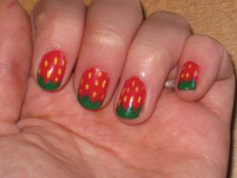 Strawberry Nails by yellow-tulips
