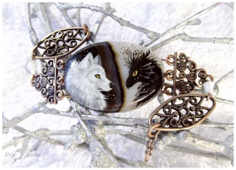 Black dragon and white wolf - stone painting OOAK by AlviaAlcedo