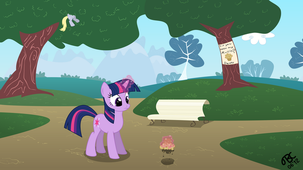 Twilight Sparkle in the park (wallpaper) by TBCroco
