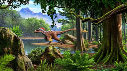 Utahraptor in a Cretaceous landscape by haghani