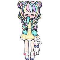 Shy Pastel Girl with Stuffed Bunny by Rosemoji
