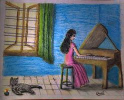 girl Playing Piano by unnibabu