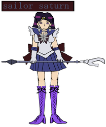 sailor saturn holding glaive by TanithLipsky