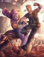 Thanos Vs. Cable by kpetchock