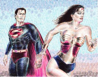 Wonder Woman and Superman reacting by mozer1a0x