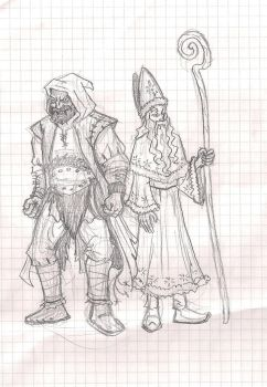 Saint Nicolas and Pere Fouettard ROTG style by zoccu