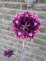 Kusudama ball purple and pink by niekje-chan