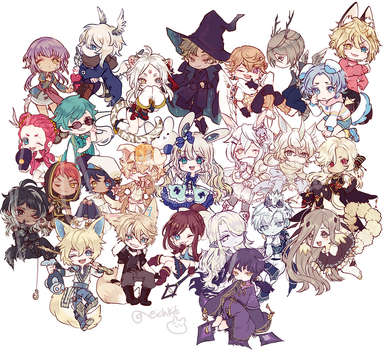 Chibi commission batch 1 by Kaiet