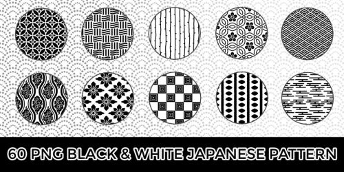 60 PNG BW Japanese Pattern by o-yome