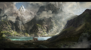 Landscape of deer by Byzwa-Dher