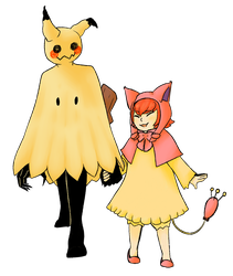 Mimikyu and Skitty Gijinka by Gigglingmime