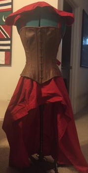Little Red Corset Outfit Front by obeytherandomness