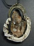 Smokey quartz polymer clay wire wrapped pendant by dogzillalives