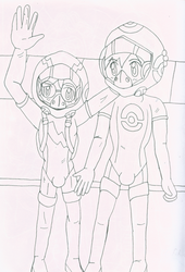 Clemont and Ash lineart by JDogindy
