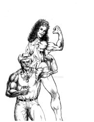Wolverine and She Hulk Posing sketch by eoshek