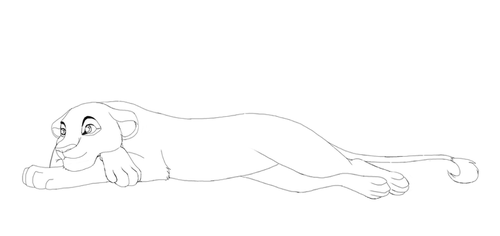 Laying Lioness Lineart by Splasher91