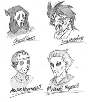 Slashers in Masks by Azure-Arts