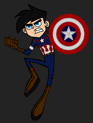 Danny Fenton dressed as Captain America by LooneyAces