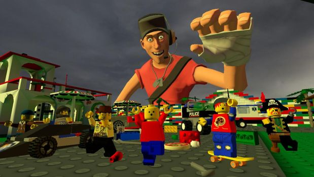 Giant Scout attacks LEGO City by Primon4723