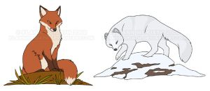 Red Fox and Arctic Fox by FlannMoriath