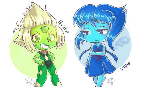 Peridot Lapis chibis by ForbiddenDesirers