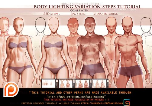 Body Lighting steps tutorial pack.promo. by sakimichan