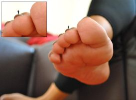 Tiny Son stands on Mothers Toenail! by GT647