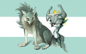 Twilight Princess - Wolf Link and Midna by Jestuhr