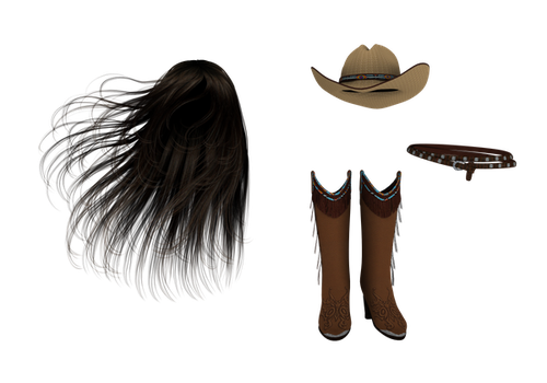 PNG long hair boots hat belt by madetobeunique