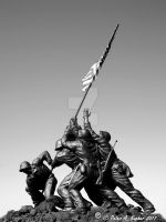 Iwo Jima Memorial - Replica in B+W by peterkopher