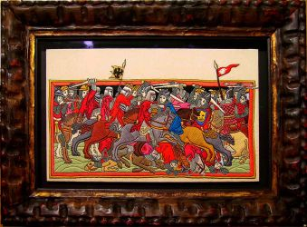 Medieval battle hand embroidered painting by YANKA-arts-n-crafts