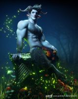 A Faun in the moonlight by albron111