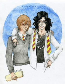 Messrs Moony and Padfoot (colour) by mina-D