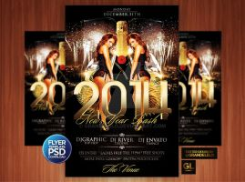 2014 New Year Party Flyer Template by Grandelelo