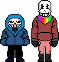 Spinshift Sans and Papyrus by flambeworm370