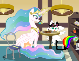 Tea Time with Celestia PRINT by Lightning-Bliss