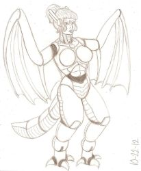 Wyverna sketch by RocMegamanX
