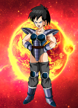 Female Saiyan With Turles Armor W/Backround by EliteSaiyanWarrior
