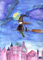 cityscape with a teen witch by morbidangel
