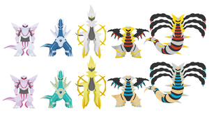 Arceus and the Dragon Trio +Shiny version by hookls