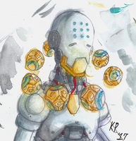 Overwatch-Zenyatta watercolor by BotanofSpiritWorld