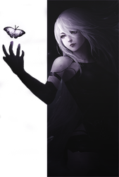 Banner A2 Holding Butterfly Nier Automata by Rosey-Rose