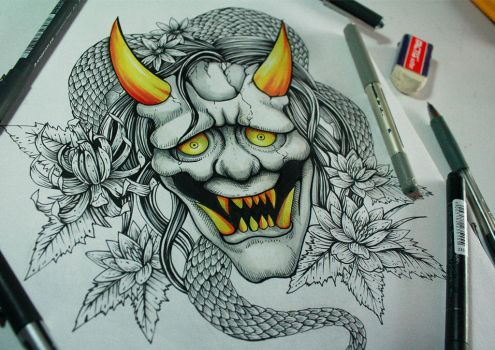 Oni tattoo - ink october day 7 by EG-TheFreak