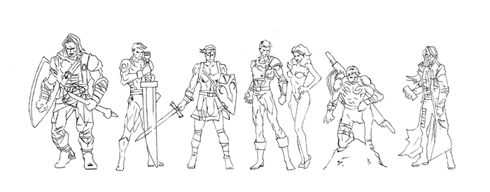 super hero team (inked) by electronicdave