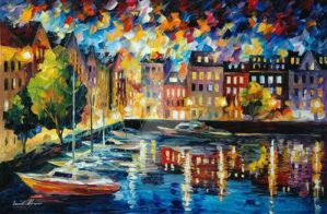Amsterdam's Harbor by Leonid Afremov by Leonidafremov