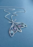 Silver necklace Butterfly by UrsulaJewelry