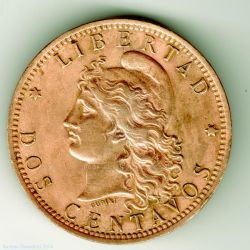 Two Centavos 1895 - Argentina by Book-Art
