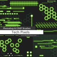 Tech Pixels Photoshop and GIMP Brushes by redheadstock