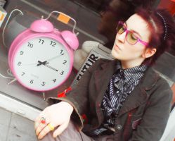 Waiting with Big Pink CLock by TrizDarmon